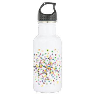 Botella De Agua Flores coloreadas