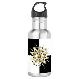 Botella De Agua Fondo geométrico de la mandala blanca y negra del