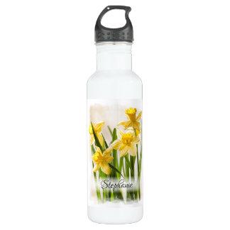 Botella De Agua Fotografía floral Painterly de los narcisos