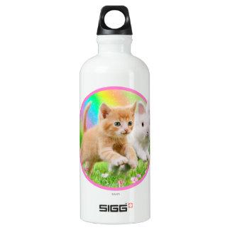Botella De Agua Gatito y conejito con el arco iris
