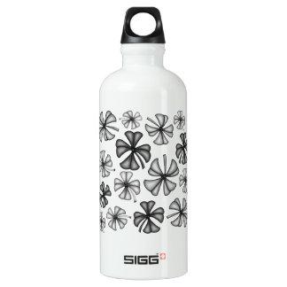 Botella De Agua Gris afortunado del trébol del trébol