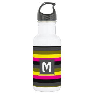 Botella De Agua gris amarillo de neón de moda fresco de la parte