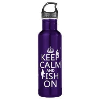 Botella De Agua Guarde la calma y pesque encendido - los colores