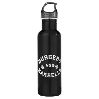 Botella De Agua Hamburguesas y Barbells - motivación de elevación