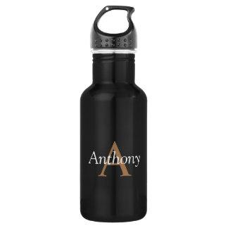 Botella De Agua Inicial de moda del monograma moderno negro