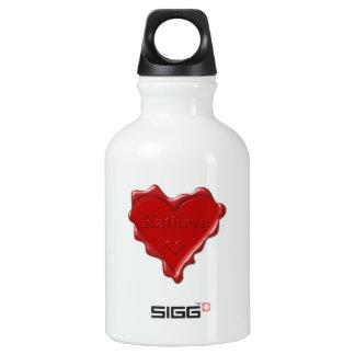Botella De Agua Kathryn. Sello rojo de la cera del corazón con