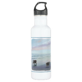 Botella De Agua Keeshonds en el arte del perro de la pintura de la