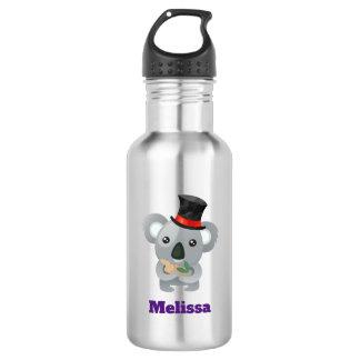 Botella De Agua Koala linda en un personalizado negro del sombrero