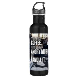 Botella De Agua Levante la inspiración pesada - café y música