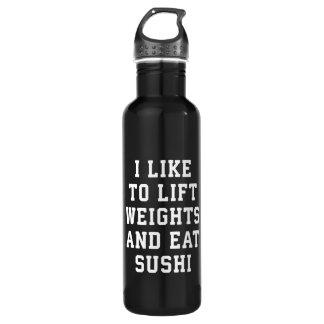 Botella De Agua Levante los pesos y coma el sushi - novedad