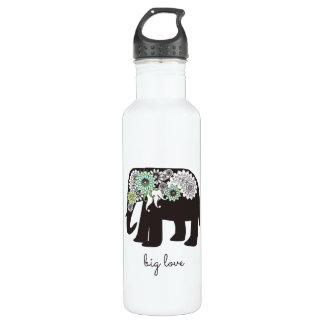 Botella De Agua Lindo femenino del amor del elefante de Paisley