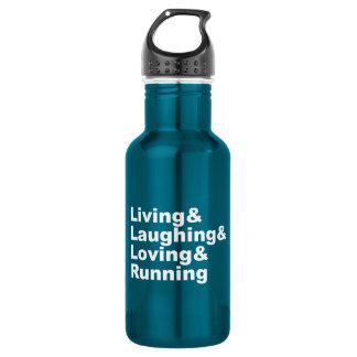 Botella De Agua Living&Laughing&Loving&RUNNING (blanco)