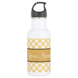 Botella De Agua Lunares del oro en el fondo blanco
