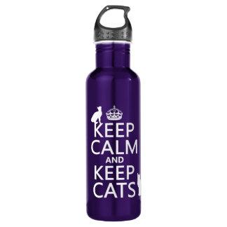 Botella De Agua Mantenga tranquilo y guarde los gatos