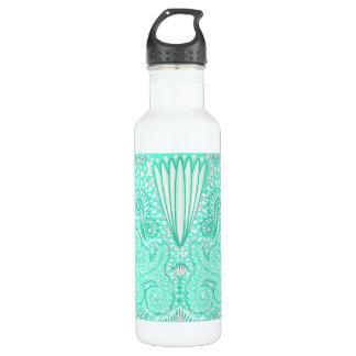 Botella De Agua Modelo en colores pastel retro del verde de mar