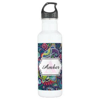 Botella De Agua Modelo floral multicolor de neón de Paisley
