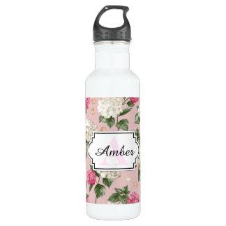 Botella De Agua Modelo inconsútil floral del Hydrangea rosado