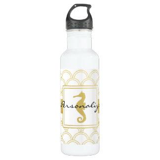 Botella De Agua Modelo náutico retro del falso oro del Seahorse