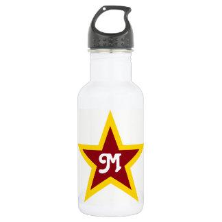 Botella De Agua Monograma de encargo simple de la estrella roja y