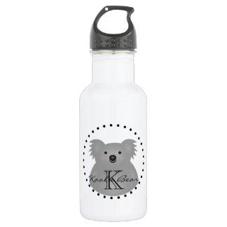 Botella De Agua Monograma mimoso lindo del oso de koala del bebé