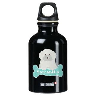 Botella De Agua Monograma rizado mullido lindo del perro de