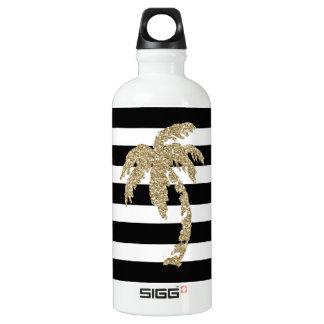 Botella de agua negra/blanca de la palmera del
