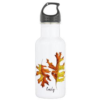 Botella De Agua Nombre de baile pintado acuarela de las hojas de