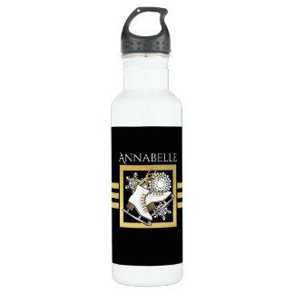 Botella De Agua Nombre moderno el hielo el | del falso oro negro