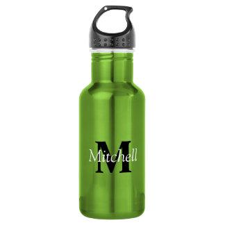 Botella De Agua Nombre negro clásico verde del monograma