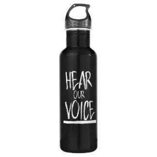 Botella De Agua Oiga nuestra voz --  blanco -