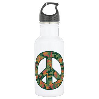 Botella De Agua Paz colorida de Camo