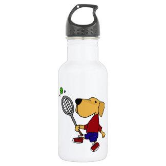 Botella De Agua Perro amarillo divertido de Labrador que juega el
