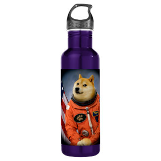 Botella De Agua perro del astronauta - dux - shibe - memes del dux