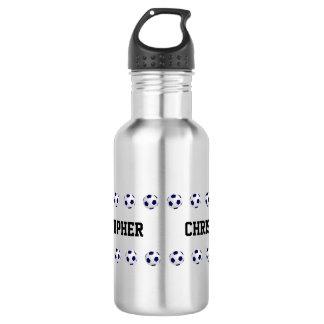 Botella de agua, personalizada, fútbol, acero