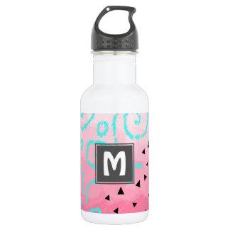 Botella De Agua pincelada geométrica del rosa del modelo del negro