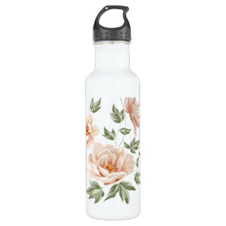 Botella De Agua Pintura floral de la primavera anaranjada cremosa