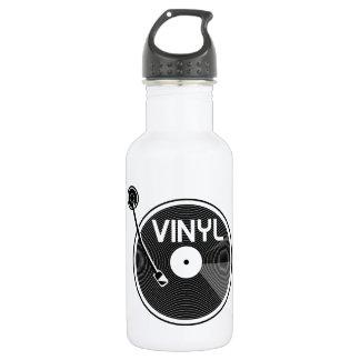 Botella De Agua Placa giratoria del disco de vinilo blanco y negro