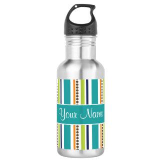 Botella De Agua Rayas y puntos retros enrrollados