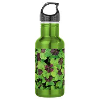 Botella De Agua Remiendo del trébol de cuatro hojas, (alazán, cruz