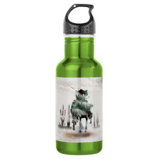 Botella De Agua Rodeo - exposición doble - vaquero - vaquero del