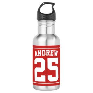 Botella De Agua Rojo conocido personalizado del fútbol