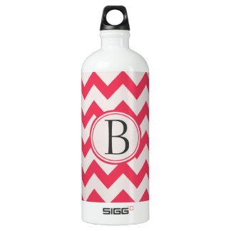 Botella De Agua Rosa e inicial gris/gris del modelo de zigzag de
