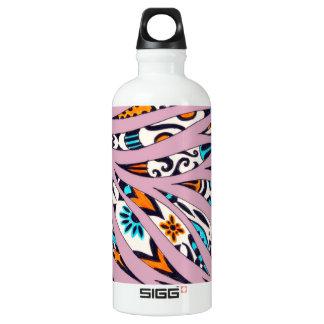 Botella De Agua Rosa enrrollado manchado de tinta del garabato del