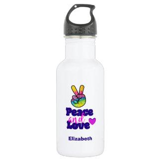Botella De Agua Signo de la paz de la mano del arco iris de la