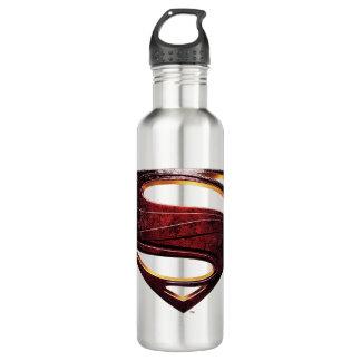 Botella De Agua Símbolo metálico del superhombre de la liga de