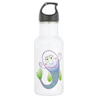Botella de agua sonriente de los pescados