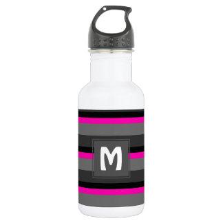 Botella De Agua tendiendo negro rosado de neón brillante y el gris