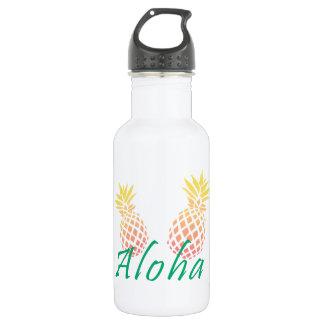 """Botella De Agua texto tropical de la """"hawaiana"""" del verano, piña"""