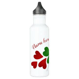Botella De Agua Trébol y corazones con su nombre