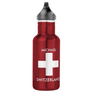 Botella De Agua Viaje rojo de la bandera suiza de Suiza personal